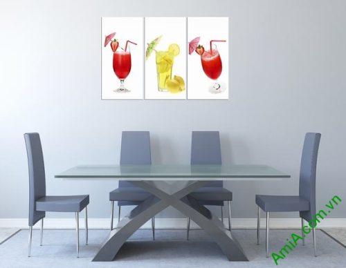 Tranh treo tường phòng ăn ly nước hoa quả Amia 311-01