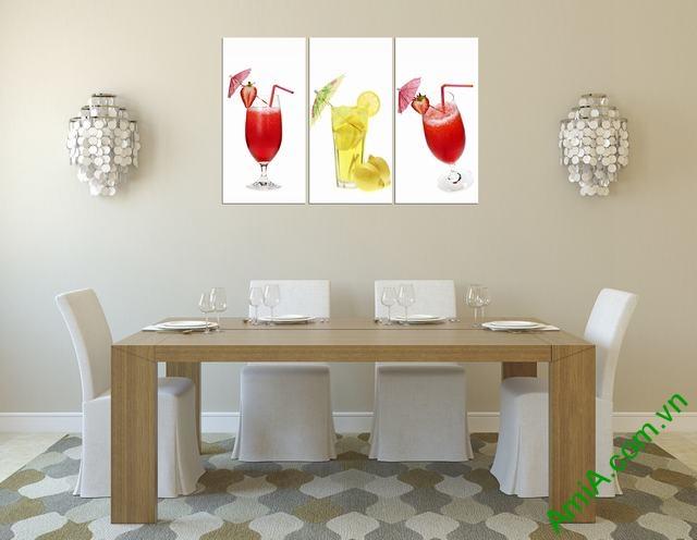 Tranh treo tường phòng ăn ly nước hoa quả Amia 311-02