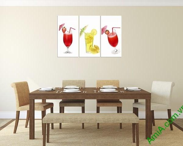 Tranh treo tường phòng ăn ly nước hoa quả Amia 311