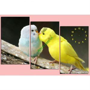 Tranh đồng hồ treo tường phòng ngủ đôi chim amia 117-00
