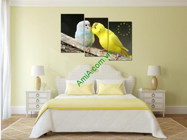 Tranh đồng hồ treo tường phòng ngủ đôi chim amia 117-01