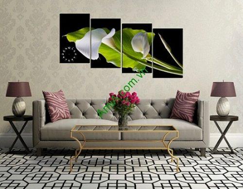 Đồng hồ tranh treo tường phòng khách hoa arum-01