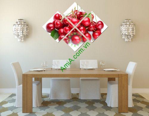 Đồng hồ tranh treo tường trang trí phòng ăn trái chery-01