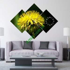 Tranh đồng hồ hoa Cúc treo tường phòng khách Amia 113-01