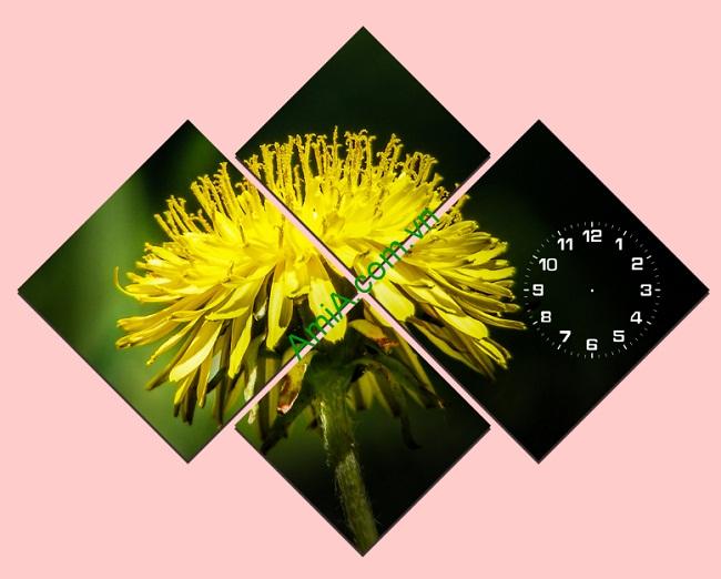 Tranh đồng hồ hoa Cúc treo tường phòng khách Amia 113