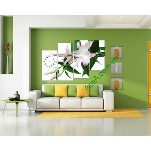 Tranh đồng hồ hoa Ly treo tường phòng khách, phòng ngủ Amia 119-00