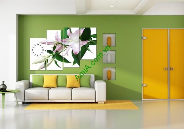 Tranh đồng hồ hoa Ly treo tường phòng khách, phòng ngủ Amia 119-01