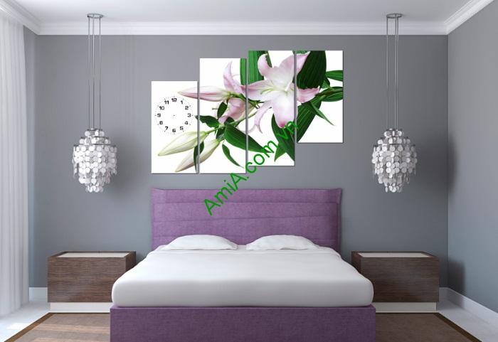 Tranh đồng hồ hoa Ly treo tường phòng khách, phòng ngủ Amia 119-02