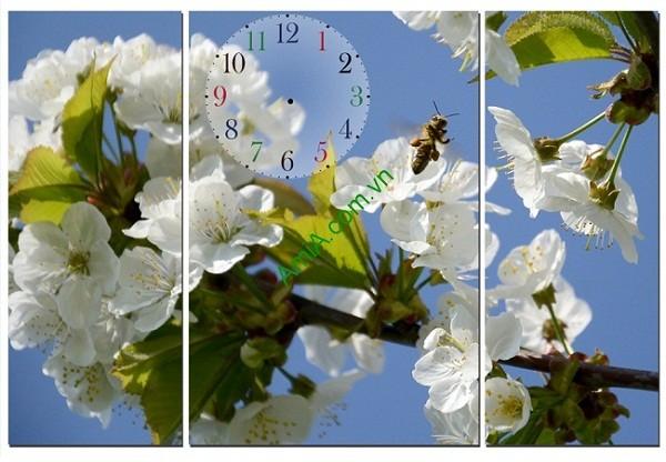 Tranh đồng hồ hoa treo tường phòng trẻ em amia 114
