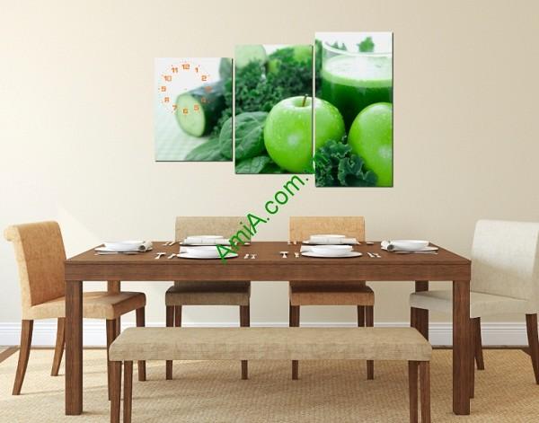 Tranh đồng hồ hoa quả treo tường phòng ăn amia 145-01