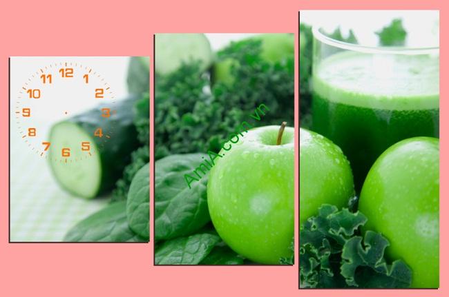 Tranh đồng hồ hoa quả treo tường phòng ăn amia 145