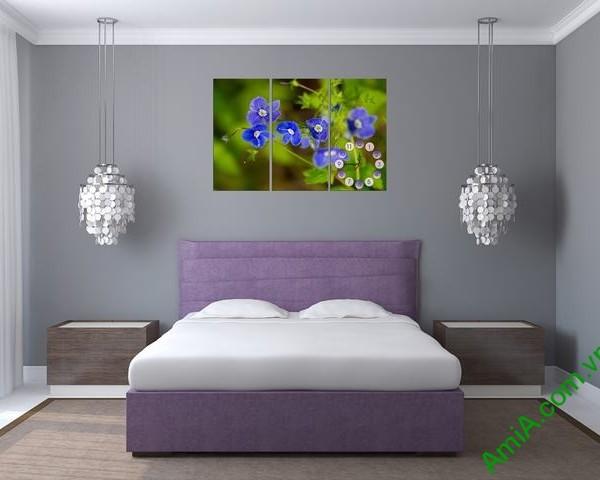 Tranh đồng hồ treo tường phòng ngủ hoa Xanh amia 316-01