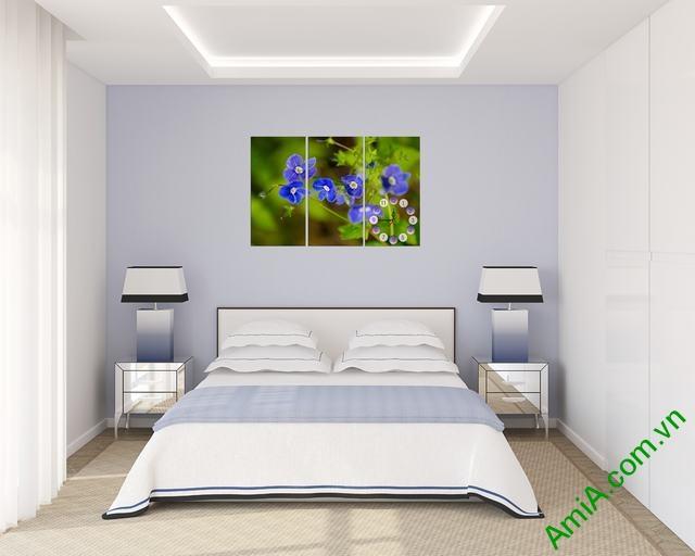 Tranh đồng hồ treo tường phòng ngủ hoa Xanh amia 316-02