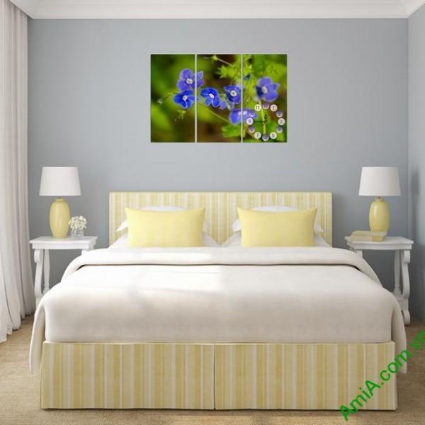 Tranh đồng hồ treo tường phòng ngủ hoa Xanh amia 316