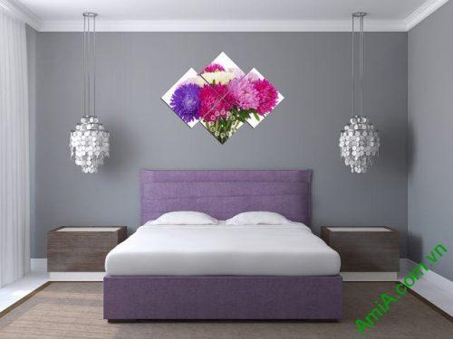 Tranh đồng hồ treo tường phòng ngủ hoa Cúc Amia 306-01