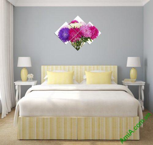 Tranh đồng hồ treo tường phòng ngủ hoa Cúc Amia 306-02