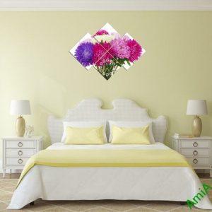 Tranh đồng hồ treo tường phòng ngủ hoa Cúc Amia 306-03