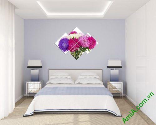 Tranh đồng hồ treo tường phòng ngủ hoa Cúc Amia 306-04