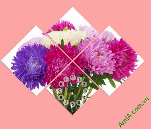 Tranh đồng hồ treo tường phòng ngủ hoa Cúc Amia 306