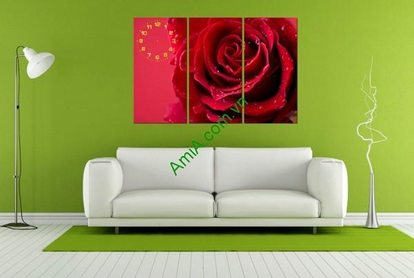 Tranh ghép treo tường phòng khách, phòng ngủ Hoa Hồng Amia 142-01