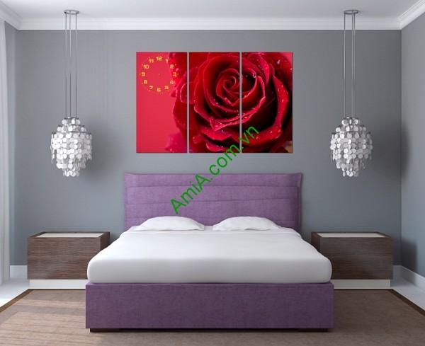 Tranh ghép treo tường phòng khách, phòng ngủ Hoa Hồng Amia 142-02
