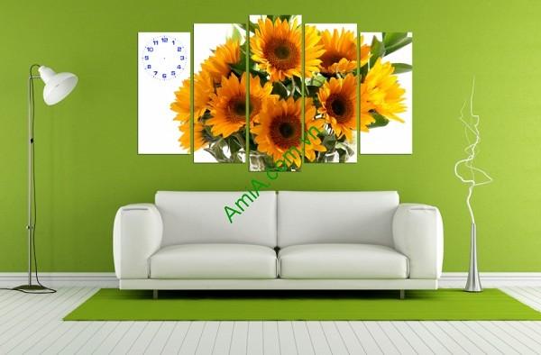 Tranh hoa hướng dương treo tường phòng khách amia 123-01