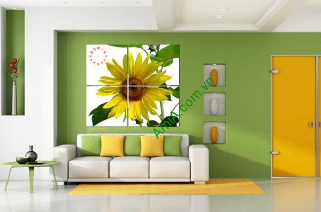 Tranh hoa hướng dương treo tường phòng khách amia 127-01