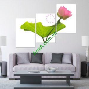 Tranh hoa Sen treo tường phòng khách hiện đại-01