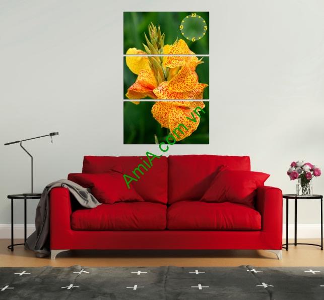 Tranh hoa treo tường phòng khách kiểu đứng amia 120-01