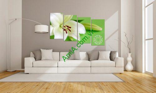 Tranh trang trí treo tường phòng khách hoa ly trắng amia 122