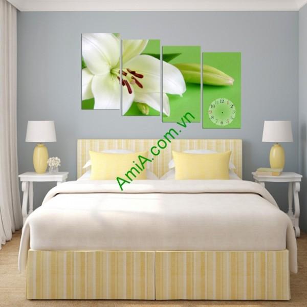 Tranh trang trí treo tường phòng khách hoa ly trắng amia 123