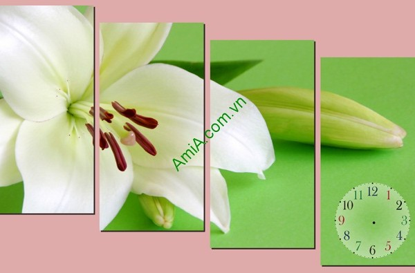 Tranh trang trí treo tường phòng khách hoa ly trắng amia 121