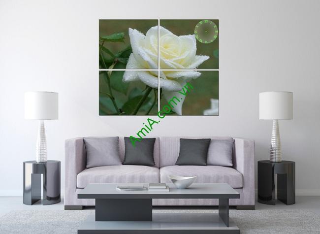Tranh treo tường hoa hồng trắng trang trí phòng khách-01