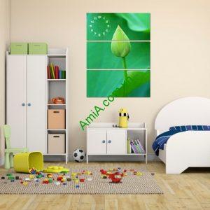Tranh treo tường kiểu đứng búp sen xanh amia 124-01
