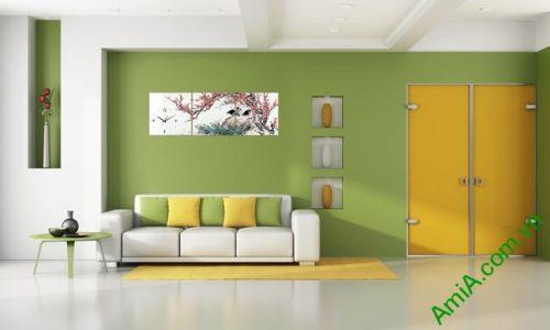 Tranh treo tường phòng khách cành đào Tết amia 320-01