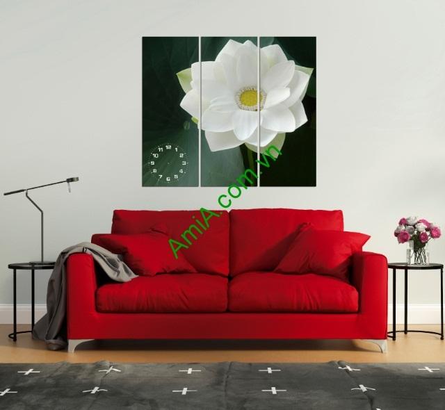 Tranh treo tường phòng khách, phòng ngủ hoa sen Amia 125-01