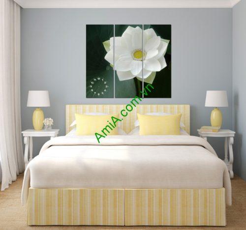 Tranh treo tường phòng khách, phòng ngủ hoa sen Amia 125-02