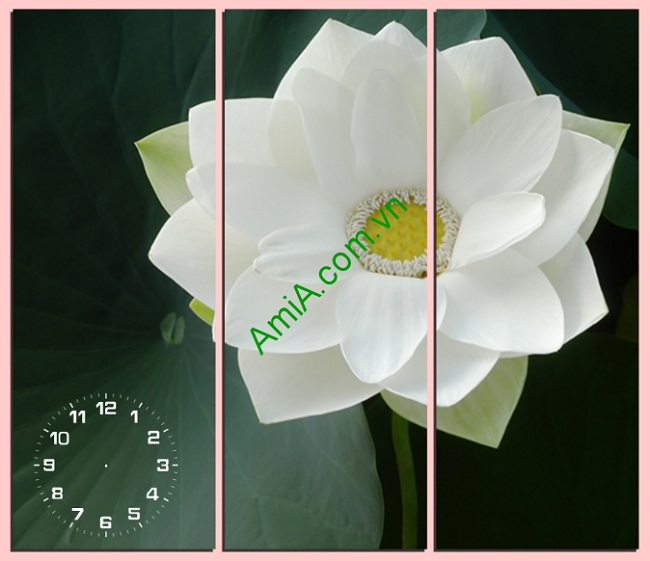 Tranh treo tường phòng khách, phòng ngủ hoa sen Amia 125
