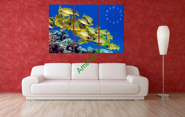 Tranh treo tường phòng khách, phòng trẻ em Đàn Cá Amia 139-01