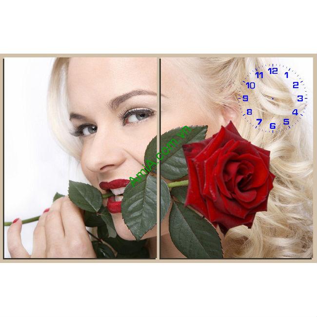 Tranh treo tường phòng ngủ bông hồng và cô gái amia 133-00