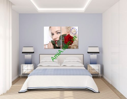 Tranh treo tường phòng ngủ bông hồng và cô gái amia 133-01