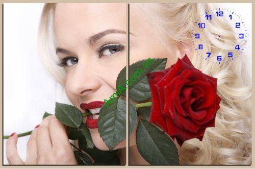 Tranh treo tường phòng ngủ bông hồng và cô gái amia 133