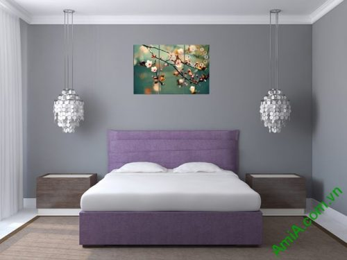 Tranh treo tường phòng ngủ hiện đại hoa Đào Xuân amia 301-01