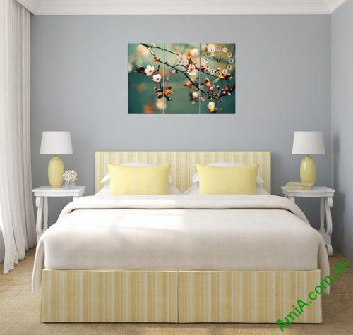 Tranh treo tường phòng ngủ hiện đại hoa Đào Xuân amia 301-02