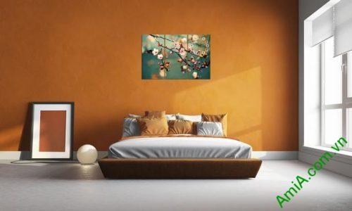 Tranh treo tường phòng ngủ hiện đại hoa Đào Xuân amia 301-03