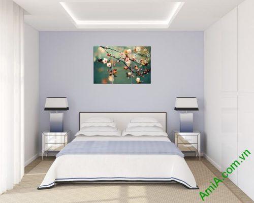 Tranh treo tường phòng ngủ hiện đại hoa Đào Xuân amia 301-04