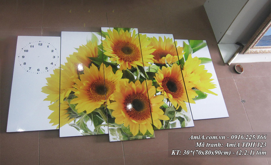 Tranh hoa huong duong dep treo tuong mang nang luong tich cuc
