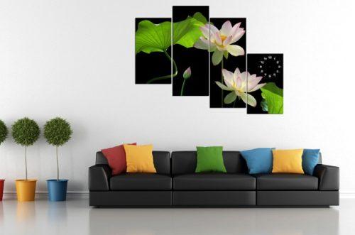 Tranh hoa Sen treo tường phòng khách đẹp sang trọng amia 116-02