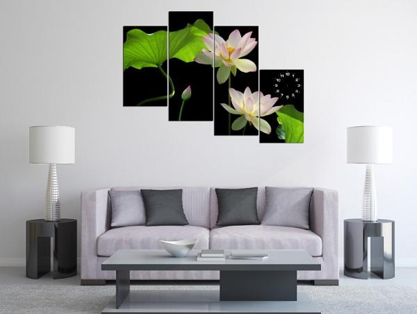 Tranh hoa Sen treo tường phòng khách đẹp sang trọng amia 116-03