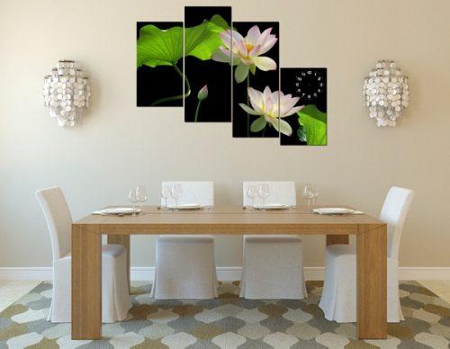 Tranh hoa Sen treo tường phòng khách đẹp sang trọng amia 116-05